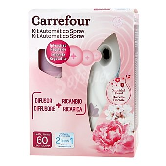 Carrefour Ambientador automático con difusor + recambio Suavidad Floral 1 ud