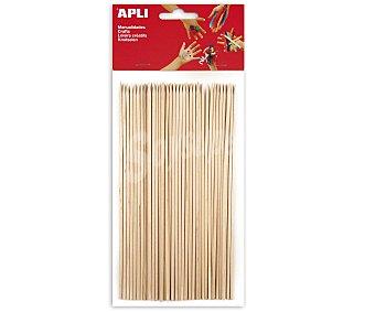 APLI Bolsa de 25 palos redondos de madera con pincho de 150 x 5 milímetros y de color natural 25 unidades