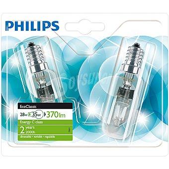 Philips Ecoclassic 28 W (35 W) 2 lamparas eco halogenas tubulares E14 (fino) 230 V
