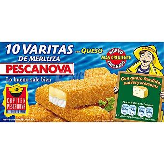 Pescanova Varitas de merluza rebozadas con queso estuche 300 g 10 unidades