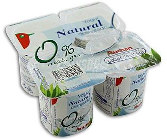 Auchan Yogur desnatado 0% mg natural Pack 4 u x 125 g
