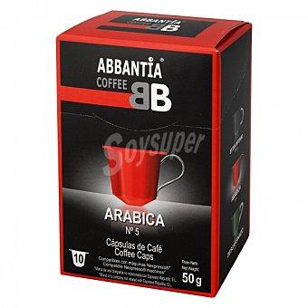 Abbantia Café arábica en cápsulas Abbantia compatible con Nespresso Coffee 10 unidades de 5 g