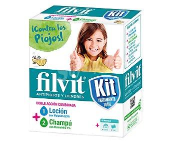 Filvit Kit tratamiento total antipiojos y liendres loción + champú con permetrina Paquete 1 unidad