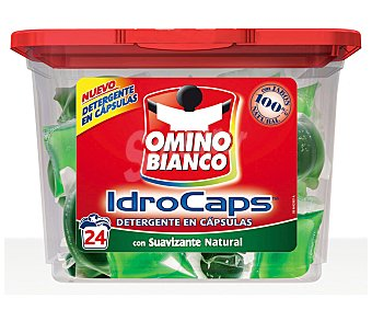 OMINO BIANCO Detergente Máquinas Suavizante 24 cápsulas