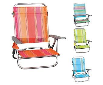 GARDEN STAR Silla plegable fija y baja para playa, fabricada en aluminio, tubo oval, asiento y respaldo de textileno de con rayas y de diferentes colores 1 unidad