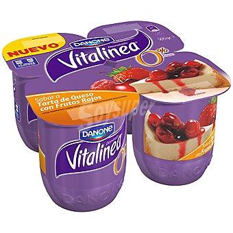 Vitalinea Danone Vitalínea tarta de queso con frutos rojos Pack 4x125 g