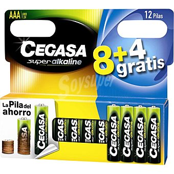 Cegasa LR03 Pilas alcalinas blister 8 + 4 unidades