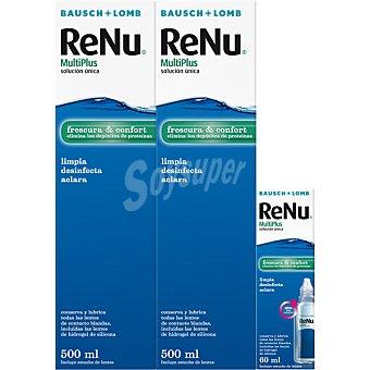Bausch&Lomb Renu Multiplus solución única para lentes de contacto frescura y confort pack 2x 500 ml incluye estuche de lentes y 60 ml de solución para viaje Pack 2x 500 ml