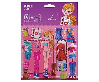 APLI Pegatinas dress up 3D modelo Angie, 1 escenario y 14 pegatinas removibles, apli Kids