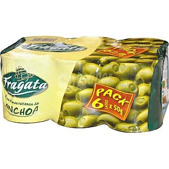 Fragata Aceitunas rellenas de anchoa pack 6 lata 50 g neto escurrido Pack 6 lata 50 g