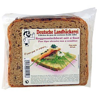 DEUTSCHE LANDBÄCKEREI Roggenmisch-brot pan tipo alemán con 4 semillas Paquete 200 g
