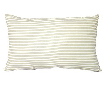 Auchan Cojín tejido panamá 100% algodón con fondo color beige y estampado rayas color blanco, cierre de cremallera, 30x50 centímetros 1 unidad