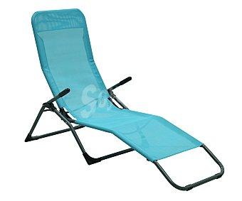 GARDEN STAR Tumbona plegable y basculante para jardín. Fabricada en acero de color azul, reposabrazos, asiento y respaldo de textileno azul claro 1 unidad