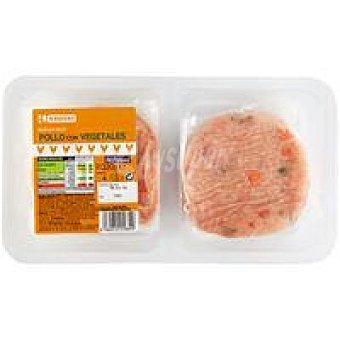 Eroski Burger de pollo con vegetales Bandeja 320 g