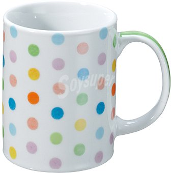 Casactual Strippes Mug en color blanco con topos de colores 33 cl