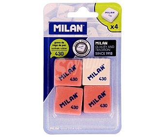 Milan Lote de 4 gomas de borrar cuadradas y de diferentes colores, modelo Nº 430 1 unidad