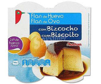 Auchan Flan de Huevo con Bizcocho Pack 4 Unidades de 100 Gramos