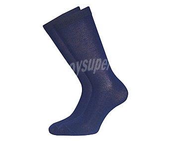 BAMBÚ Pack de 2 pares de calcetines de fibra de bambú, antibacterias y transpirables, color marino, talla 39/44 Pack de 2