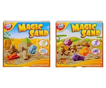 ONE TWO FUN ALCAMPO Juego con 3 colores de arena mágica moldeable y accesorios alcampo