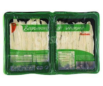 Auchan Boquerones (engraulis encrasicolus) en vinagre, con aceite de girasol y oliva 50 gramos peso neto escurrido