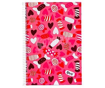 Mimbek Cuaderno DIN A4 con cuadricula de 4x4 milímetros, 80 hojas de 90 gramos, tapas extraduras de color rosa con corazones y caramelos y microperforado con encuadernación con espiral metálica 1 unidad