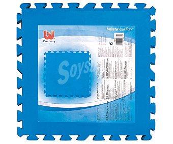 BESTWAY Suelo protector de polietileno azul acolchado y desmotable. Se compone de 8 piezas de 50x50 centímetros que hacen una superficie total de 2 metros cuadrados 8 unidades