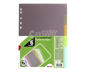 Auchan Lote de 6 separadores de polipropileno translucido, multitaladro y de diferentes colores 1 unidad