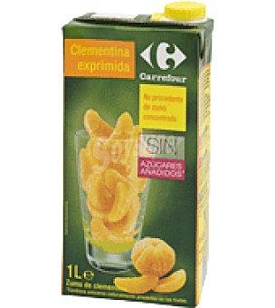 Carrefour Zumo exprimido sabor a clementina Sin azúcares añadido Brik de 1 l