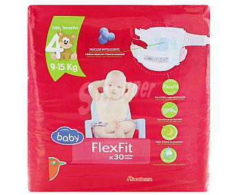 Auchan Pañales talla 4 para bebés entre 9-15 kilogramos flexifit 30 unidades