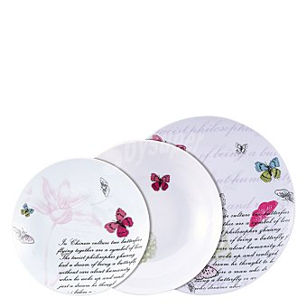 Vajilla en porcelana, piezas decorada Mod. butterfly 18 unidades