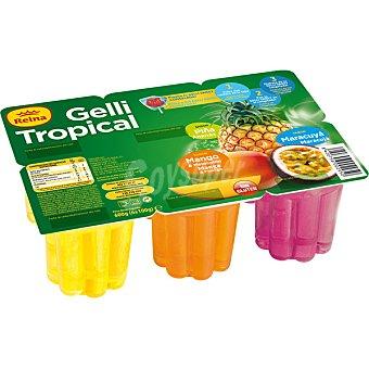 Postres Reina Gelatina sabores tropical  6 unidades de 100 g