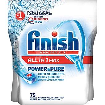 FINISH Power & Pure Detergente lavavajillas Power Ball todo en 1 Max con oxígeno activo bolsa 75 pastillas Bolsa 75 pastillas