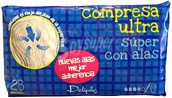 Deliplus Compresa absorcion super ultra plegada alas Paquete 28 u