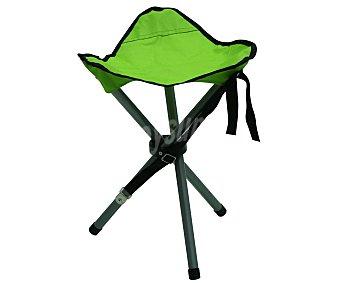 Productos Económicos Alcampo Mini silla, taburete de camping plegable, fabricada en aluminio con asiento de tela color verde 1 unidad