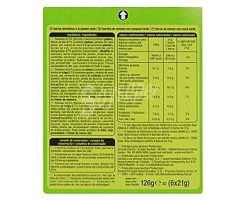 Auchan Barritas de cereales con trozos de manzana verde 126 gramos