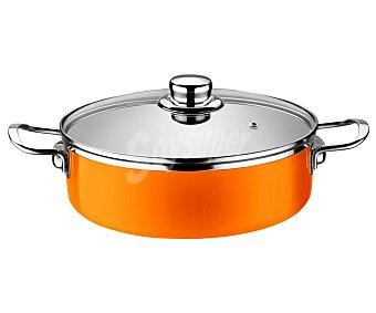 MONIX Cacerola baja de 20 centímetros de diámetro color naranja mandarina, fabricada en acero esmaltado de 1,8 milímetros. Apta para inducción 1 unidad