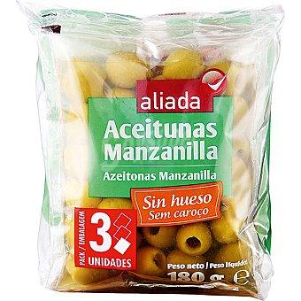 Aliada Aceitunas manzanilla sin hueso pack 3 bolsas 75 g neto escurrido Pack 3 bolsas 75 g