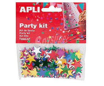 APLI Bolsa kit de fiesta, lentejuelas con forma de estrellas de 15 milímetros de diferentes colores, 14 gramos 14 g