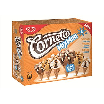 CORNETTO de FRIGO Helados de chocolate, caramelo y clásico 6 Unidades de 60 Mililitros