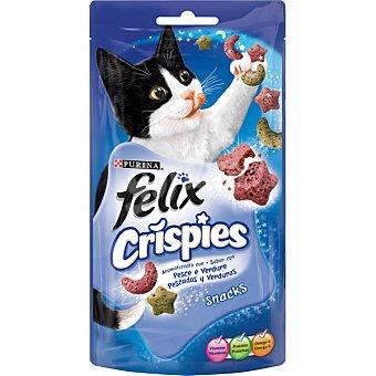 FELIX CRISPIES Snacks para gato con sabor a pescado y verduras Envase 45 g