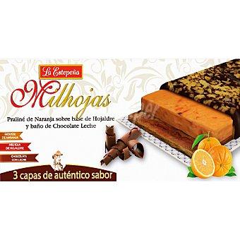 LA ESTEPEÑA Milhojas Praliné de naranja sobre base de hojaldre y baño de chocolate con leche Tableta 200 g