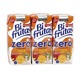 Bifrutas Pascual Zumo y leche sin azúcar sabor tropical Pack 3x330 ml