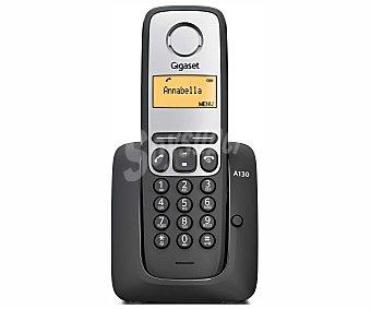 GIGASET Teléfono inalámbrico Dect Negro, identificación de llamadas, agenda para 50 contactos, pantalla iluminada, lista de ultimas 25 llamadas perdidas, permite el montaje en la pared A130