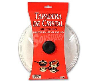 TECNOHOGAR Tapa baja de 24 centímetros, de cristal templado con salida para vapor 1 Unidad