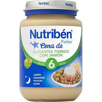 Nutriben potitos Cena de guisantes tiernos con jamón y leche a partir de los 6 meses sin azúcares añadidos y con 100% aceite de oliva Bote 200 g