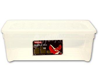 CURVER Caja multiusos con tapa modelo Textil, 6 litros, color blanco translúcido 1 Unidad