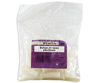 RAIA Bolsa de 25 Tacos de Color Blanco, 9x30 Milímetros 1 Unidad