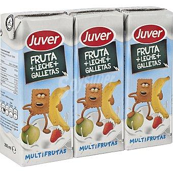 Juver Zumo multifrutas con leche y galletas Pack 3 envases 200 ml