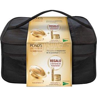 Pond's Pack Gold Radiance crema antiarrugas noche + crema de día mini envase 7 ml + crema de noche tarro 10 ml + neceser Tarro 50 ml