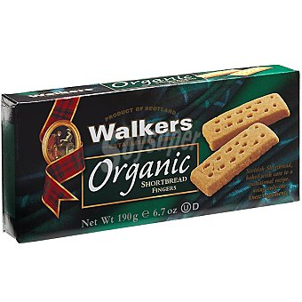 WALKERS Organic Fingers Galletas de mantequilla escocesas ecológicas Envase 190 g
